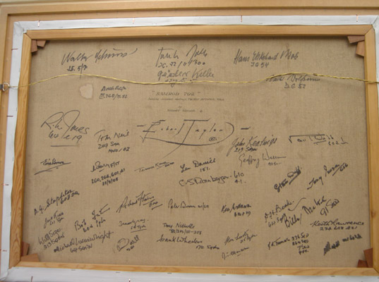 A photo of the signatures on the back of Ramrod 792
